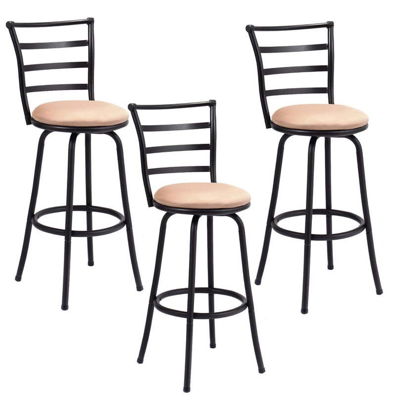 Set Of 3 Steel Frame Counter Height Modern Swivel Bar Stools High Quality Ergonomic Comfortable Backrest Counter Chair HW55641