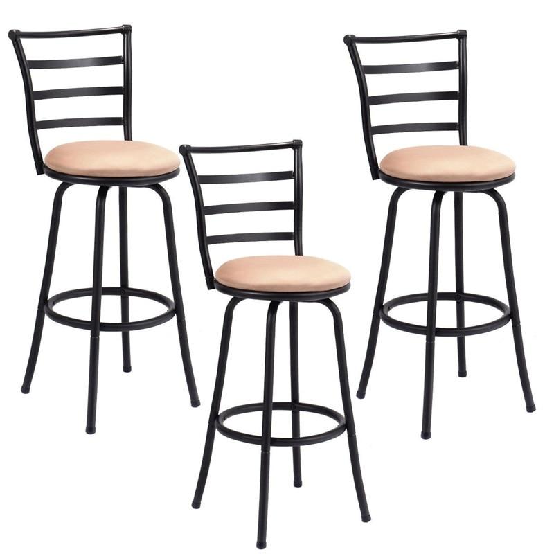 Set Of 3 Steel Frame Counter Height Modern Swivel Bar Stools High Quality Ergonomic Comfortable Backrest Counter Chair HW55641