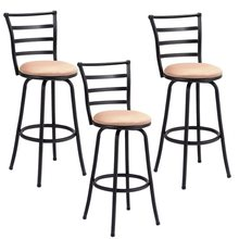 Set of 3 Steel Frame Counter Height Modern Swivel Bar Stools High Quality Ergonomic Comfortable Backrest Counter Chair HW55641(China)