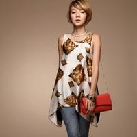 Free Shipping Ladies 2013 Summer Fashion Tiger Print Vest Asymmetry O Neck Sleeveless Long Tank Tops