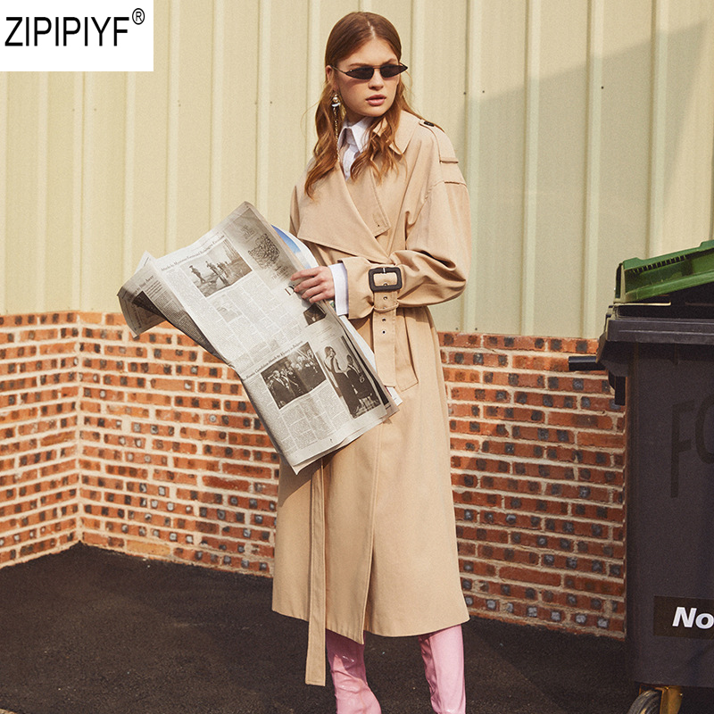 2018 Women Autumn Winter Trench Coat Dress One Size Fashion Turn Down Collar Long Sleeve Streetwear Windbreaker With Sash C1166