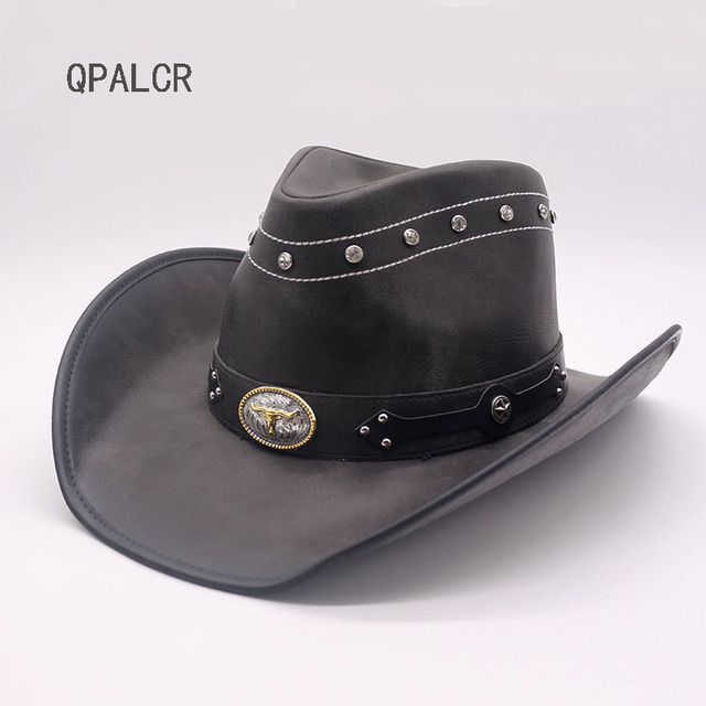 f4f0a240fa8 QPALCR 2018 New Men Women Faux Leather Western Cowboy Hats Brand Quality  Vintage Black Metal Decoration