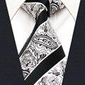 Y29 White Black Paisley Classic Silk Jacquard Woven Extra Long Size Men Necktie Tie Hanky