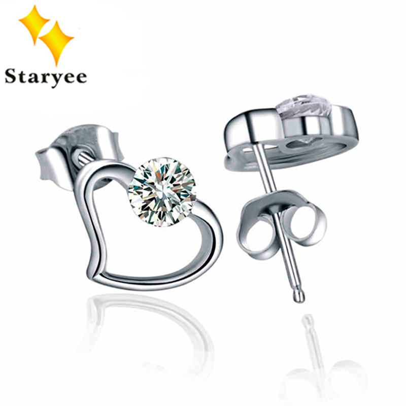 все цены на Certified 0.5CTW 5mm Heart Shape Lab Diamond Stud Earring Real 14K Solid White Gold Moissanite Engagement Earrings For Women