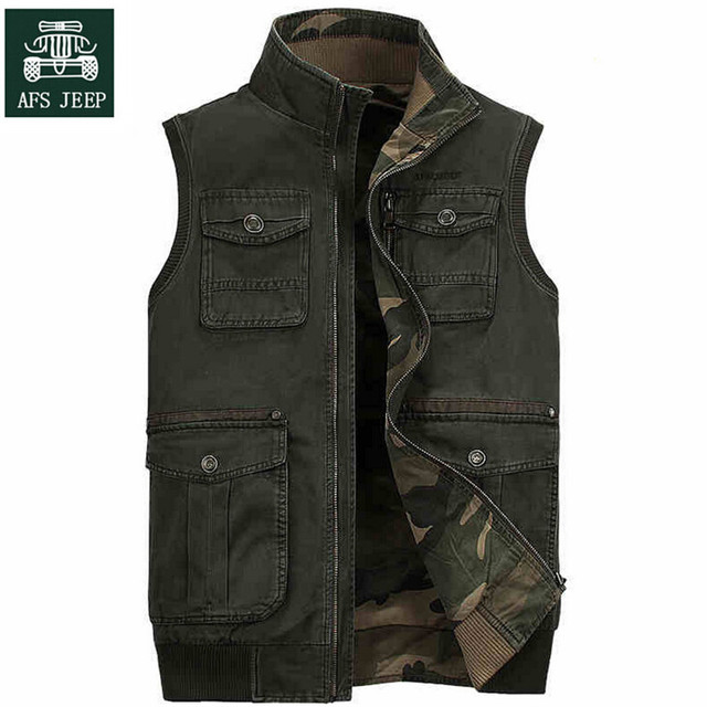 AFS JEEP 100% Cotton Man's Two Side Vest,Camouflage Autumn Men's casual Overall Waistcoat,Double Face Man Sleeveless Jacket