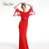 Applique Sequin Embroidery Dress Fancy Top Grade Half Sleeve Floor Length Dress
