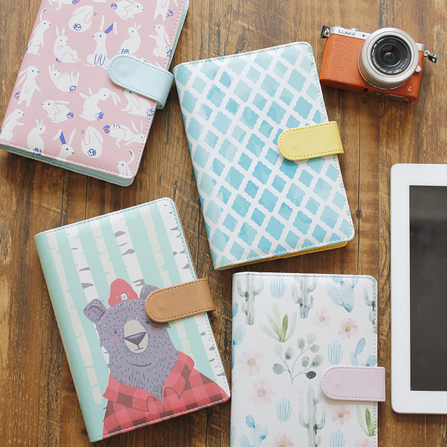 New cute creative leather notebooks,cartoon personal agenda planner organizer/diary weekly planner filofax stationery gift A6