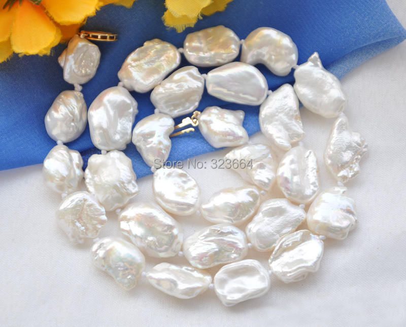 Hot Sell! 18 20mm NATURE white DENS keshi REBORN pearl necklace