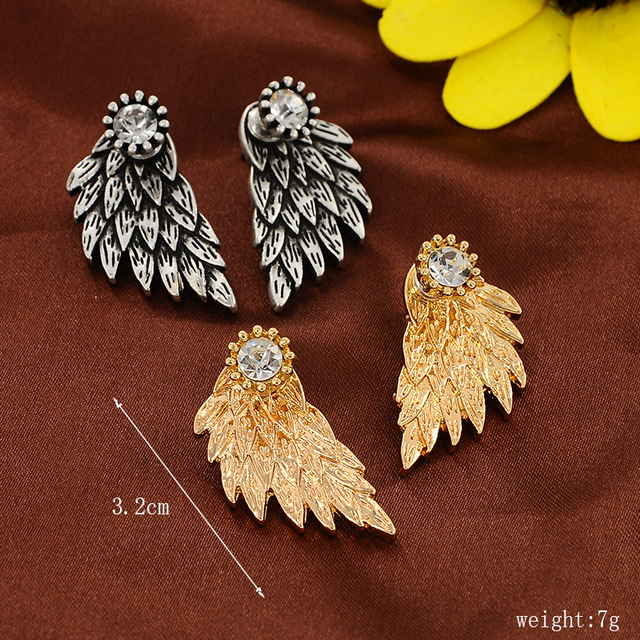 Vintage Gothic Angel Wing Alloy Stud Earrings Cool Black Antique Silver Color Feather Earrings for Women Men Fashion Jewelry 5