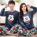 Inverno Amantes de Manga Longa Pijamas Homens & mulheres Pijamas de Flanela Quente Dos Desenhos Animados Lazer Início Roupas Soltas Casal Pijama Definir Xxxl