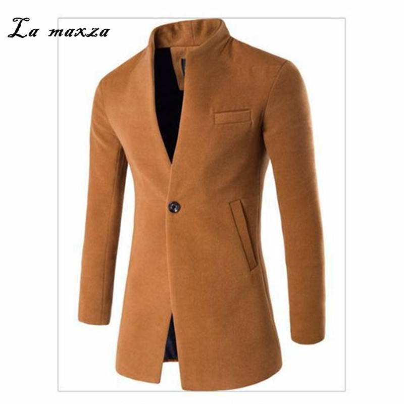 Wool Mens Coats Dress Korean-Style Casual Fashion Winter Smart