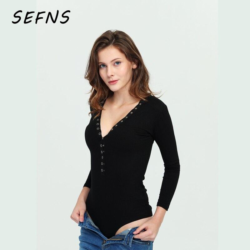 SEFNS deep V neck buttons spring jumpsuit romper Women Casual elastic black long sleeve bodysuit Sexy knitting white bodysuit