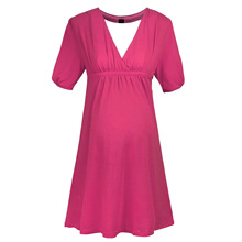 Robes de maternité Col V À Manches Courtes Élasticité A-ligne Robes De Maternité Vêtements 2016 Nouveau Arrivée Vêtements de Grossesse