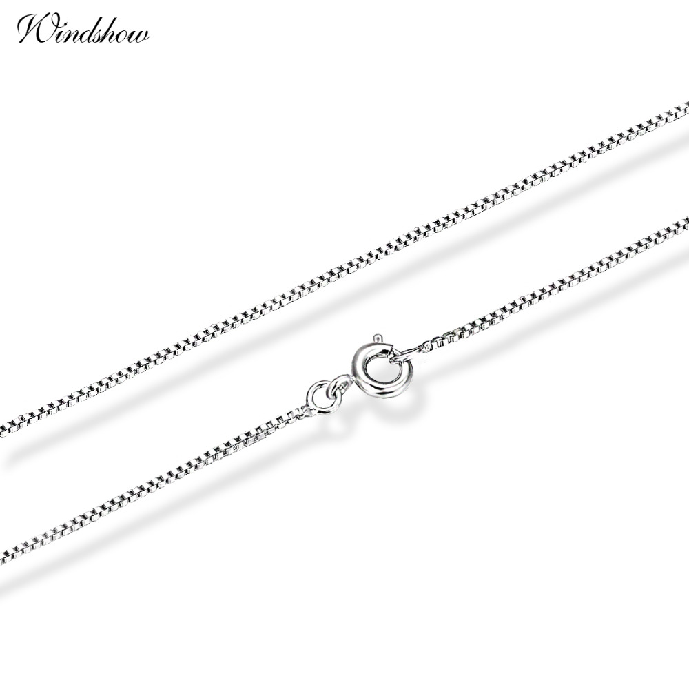 18K White Gold Plated Slim Thin Box Chain Necklace Women Children Boys Girls Jewelry Baby Kids Birthday Gift Wholesale 40cm 45cm Бюстгальтер