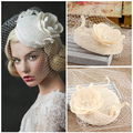 New Linen Lace Bridal Hats 2017 For Wedding Flowers Pearls Wedding Birdcage Veil Hats For Bride Wedding Accessories BH9