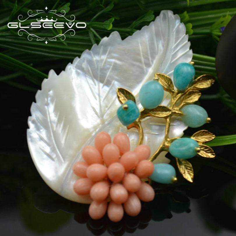GLSEEVO Natural Stone Amazonite Brooch Pins For Women Mother Of Pearl Leaf Brooches Accessories Dual Use Luxury Jewelry GO0159GLSEEVO Natural Stone Amazonite Brooch Pins For Women Mother Of Pearl Leaf Brooches Accessories Dual Use Luxury Jewelry GO0159