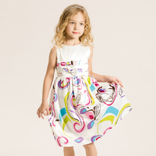 Girls Dress Summer Brand Princess Dress Children Clothing Abstract Print Fashion Tutu Costume Kids Clothes Birthday Party Dress