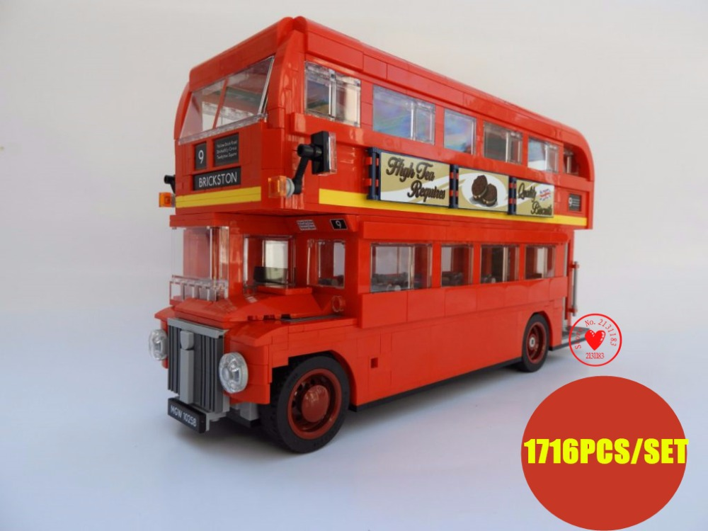 New Technic series London city Red Bus ideas fit legoings technic city model Building Blocks Bricks diy Toys 10258 gift kid toy