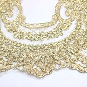 Image 2 - זהב רקום תחרה Appliqued 5 Yds שמפניה זהב תחרה Trims אור טול תחרה בד מסולסל כלה Sashes 23 31CM