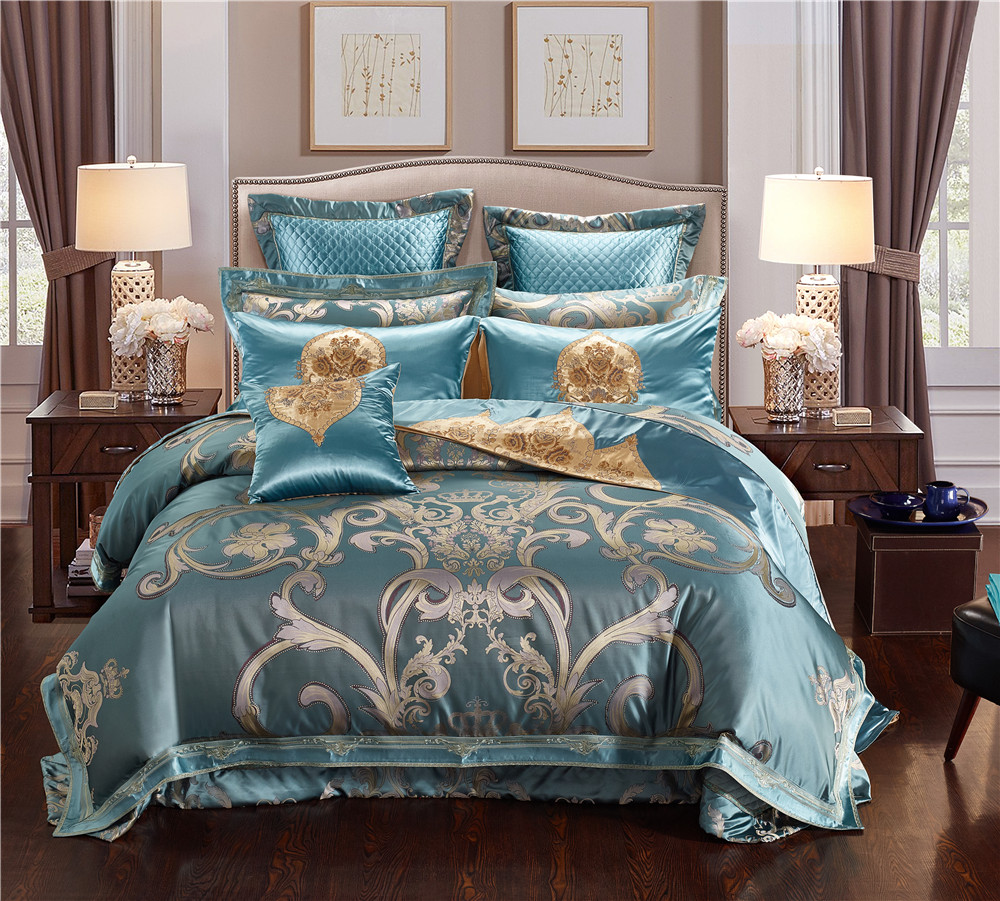 Queen King size Luxury Blue Royal Jacquard Bedding sets Egyptian Cotton Embroidered Flat Bed sheet set