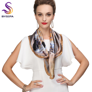 Image 3 - Winter Accessories Khaki Square Scarves Printed For Ladies Fashion Lovers 100% Natural Silk Scarf Printed 90*90cm Autumn Scarves