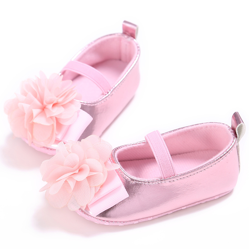 2017 New Arrivals Newborn Baby Girl Shoes Spring Summer PU Soft Soled Flower Pink Cotton Shoes