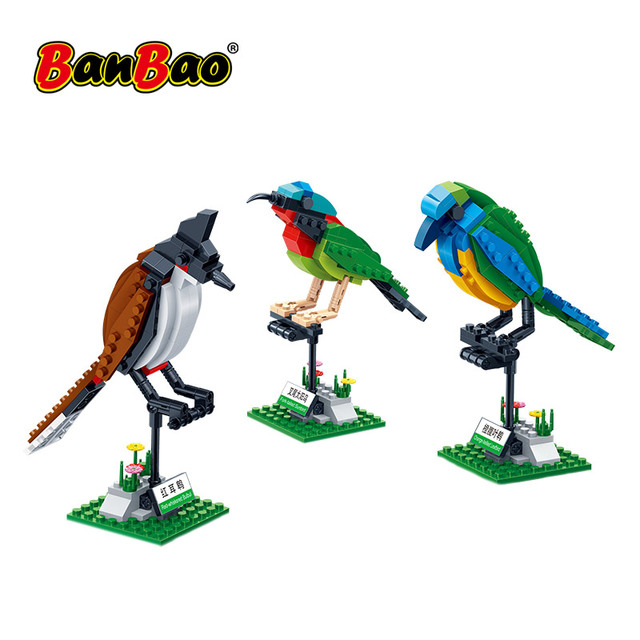 BanBao Building Blocks 3 Birds Set Animal Cognition Bricks with stickers Educational Toys Model for Kids Children Gift 5123