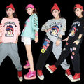 2016 Fashion Good Quality  Hip hop T Shirt Women Tops Skeleton T-shirts Women Street style Hip hop dance Clothes