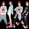 2016 Moda de Boa Qualidade Hip hop T Shirt Mulheres Tops Camisetas Esqueleto estilo Mulheres Rua Hip hop Roupas de dança