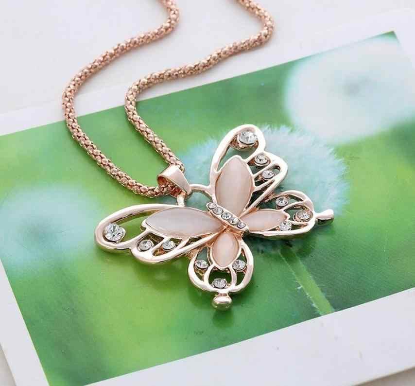 Bling-world Мода Женская Леди розовое золото Опал бабочка кулон ожерелье свитер цепь Горячая je21