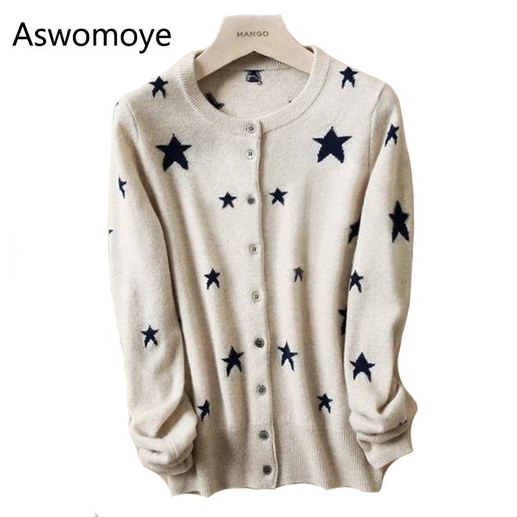 2017 New Casual Ladies Stars Cashmere Cardigan Knitted Wool Cardigan Coat Slim Long Sleeved Single Breast O-neck
