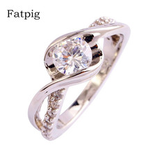 Fatpig Women Wedding Rings Jewelry Fashion Engagement Gift Round Cut White  Silver Planted Ring Size 6 7 8 9 10 11 12