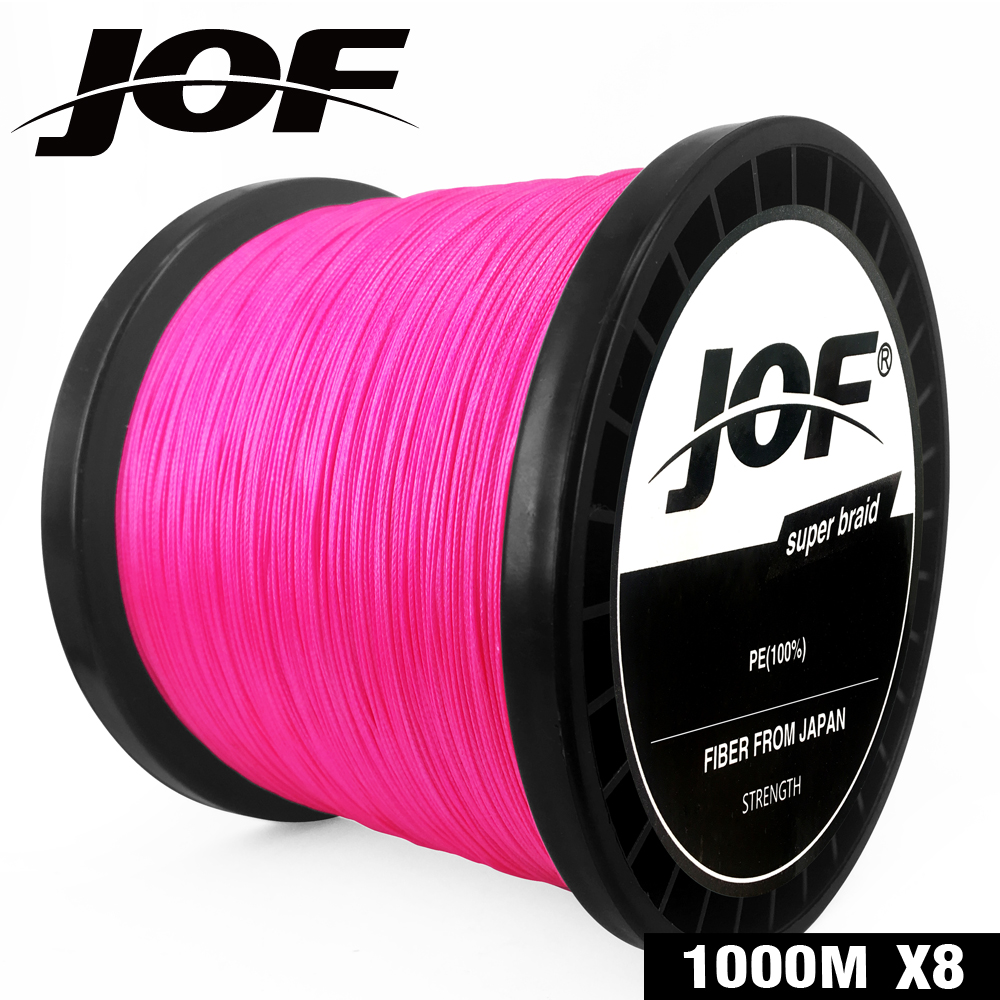 JOF Fishing 8 Strands Braided Fishing Line 100M 150M 300M 500M 1000M Pink Carp Fishing Line Sea Saltwater Fish Cord