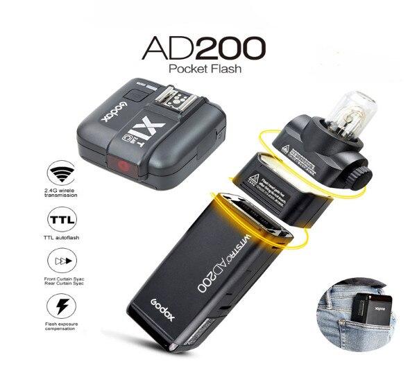 GODOX AD200 TTL 2.4G HSS 1/8000s Pocket Flash Light Double Head 200Ws with 2900mAh Lithium Battery Flashlight Flash