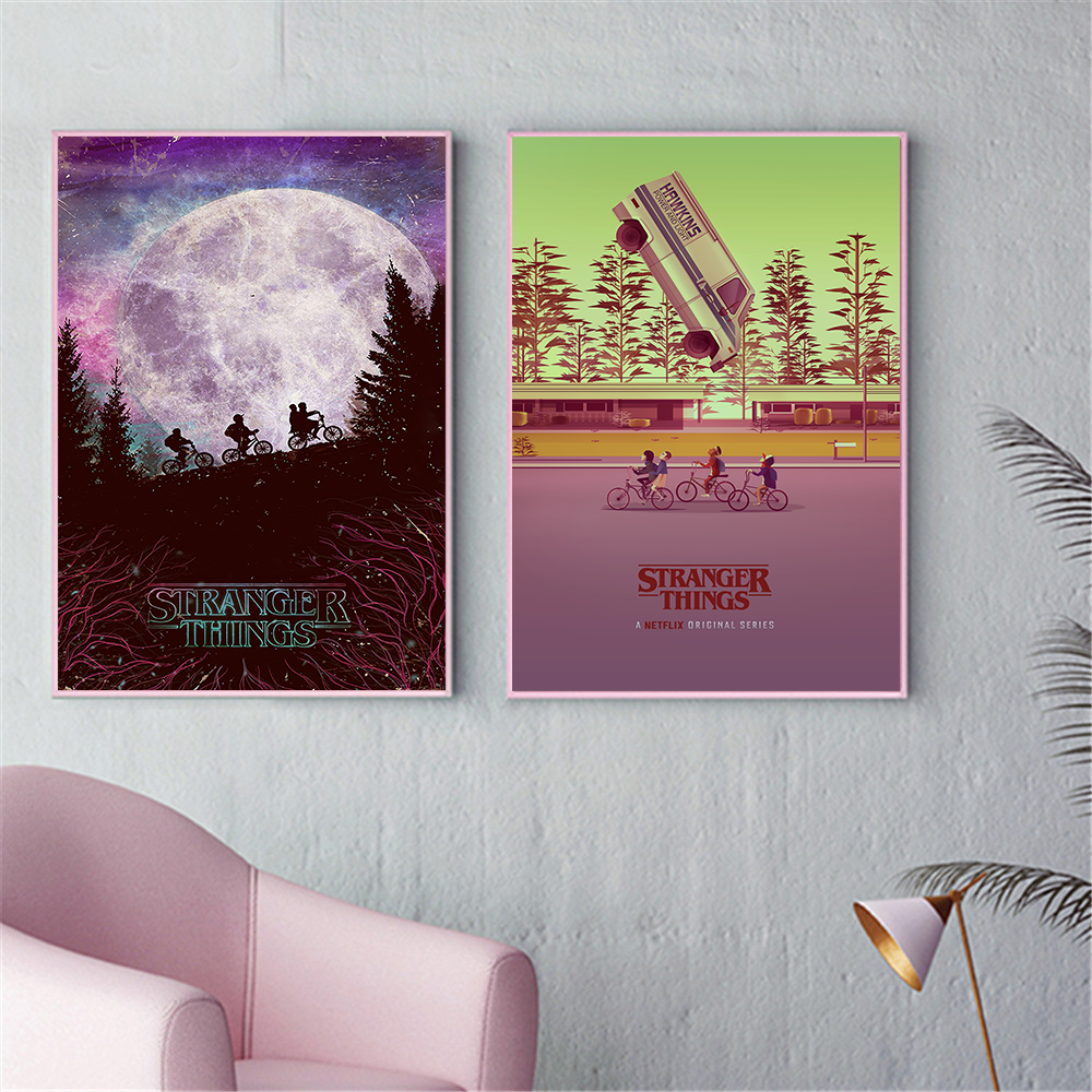 Movie Poster Stranger Things Poster Vintage Abstract Canvas Wall Decoration Wall Paintings For Living Room Kids Bedroom Art