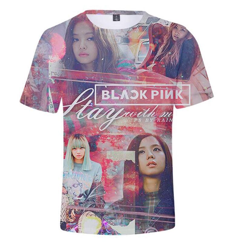 Korean Style KPOP BLACKPINK 3D Print T Shirt Summer Fashion K POP Black Pink O-Neck Short Sleeve Funny Tshirt Hip Hop Streetwear