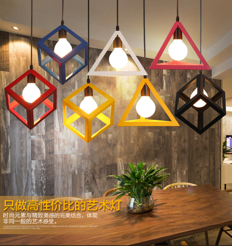 Modern Metal Led Pendant Light Fixture With Iron Cube Triangle Nordic Hanging Lamp Cafe Bar Restaurant Lighting Loft LuminaireModern Metal Led Pendant Light Fixture With Iron Cube Triangle Nordic Hanging Lamp Cafe Bar Restaurant Lighting Loft Luminaire
