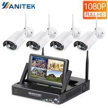 HD 1080P 4CH bezprzewodowy NVR system cctv 2MP na zewnątrz wodoodporny WiFi IP kamery bezpieczeństwa wideo zestaw do nadzorowania 7 cal wyświetlacz LCD