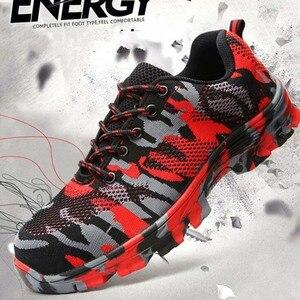 Image 2 - Inşaat erkekler açık artı boyutu çelik burunlu iş ayakkabıları ayakkabı erkekler kamuflaj delinme geçirmez güvenlik ayakkabıları nefes