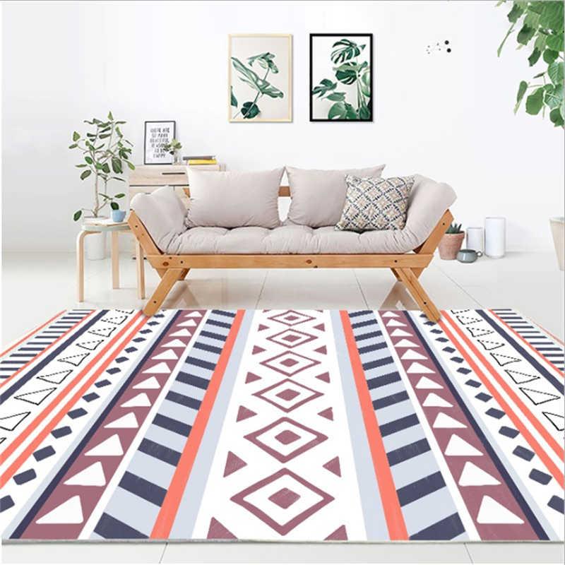 Geométrico estilo étnico alfombra alfombras para la vida moderna alfombra de la habitación de los niños antideslizante y Anti-arrugas de terciopelo de cristal Mat