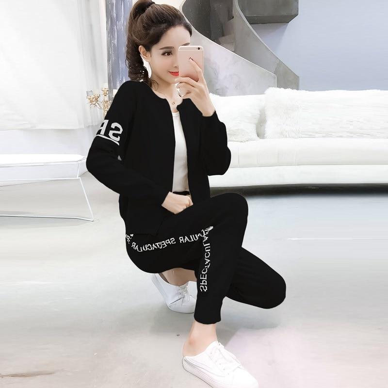 Knitted Tracksuit Women Pant Suits Sets 2018 New Fashion Elegant Casual 2 Piece Set Women Letter Sweater Pencil pants 2
