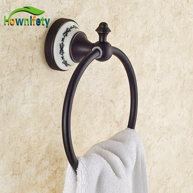 Free Ship Beauty Oil Rubbed Bronze Bath Towel Rings Soild Brass Towel Bracket
