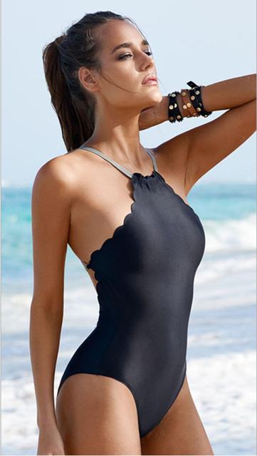 4210d371c3 2016 Sexy New sexy High Neck scalloped one piece swimsuit