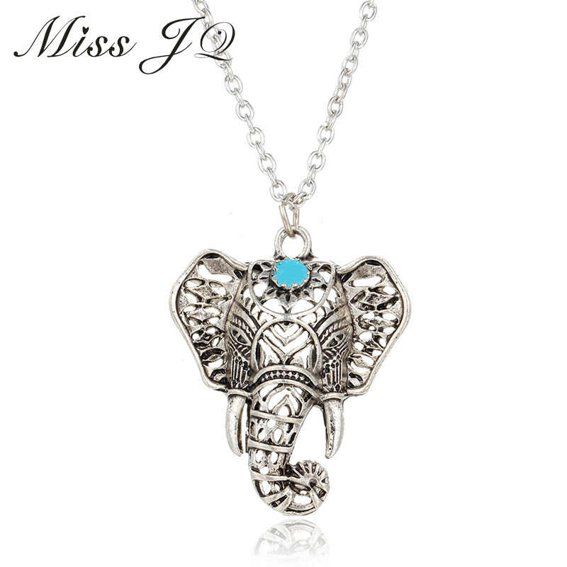 Miss JQ โบฮีเมียนสไตล์โบราณเงินชาติพันธุ์ยาวสร้อยคอหินสีฟ้าช้างจี้สร้อยคอสำหรับผู้หญิง collier femme