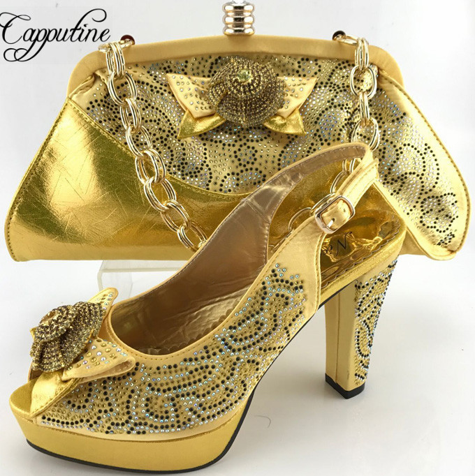 New Summer Africa Shoes And Bag Set Italian Rhinestone Woman High Heels Shoes And Bat For Party Size 38-42 Factory Price ME6610