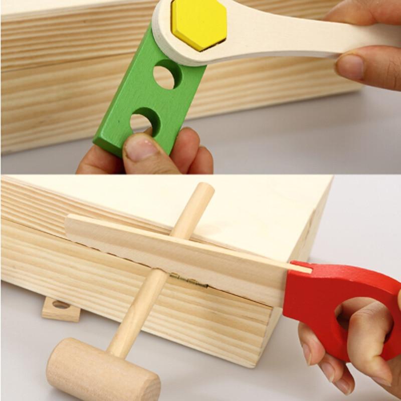Nouveaux enfants enfants jeu de bois jouet Simulation bricolage Portable boîte à outils ensemble et garçons