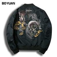 BOYUAN Brand Quality Coat Men Bomber Jacket Men Cartoon Embroidery Plus Size S 4XL Black Jacket