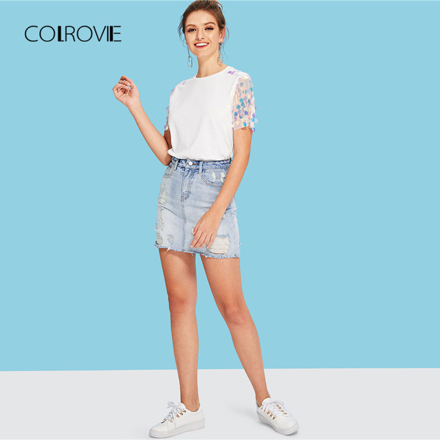 COLROVIE White Contrast Sequin Mesh Sleeve Preppy T-Shirt Tee 2018 Summer Sheer Weekend Casual Top Tee Basic Women Clothing