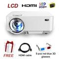 LCD Barato Mini Proyector para Cine En Casa con HDMI VGA con 1000 lúmenes Proyector de vídeo LED libre HDMI cable y gafas 3D