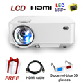 LCD Cheap Mini Projector for Home Cinema with HDMI VGA with 1000 lumens LED video Projector free HDMI cable and 3D glasses